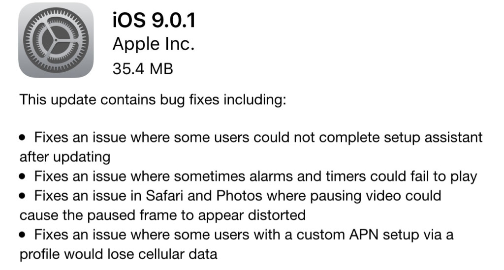 iOS 9.0.1 Update is Released